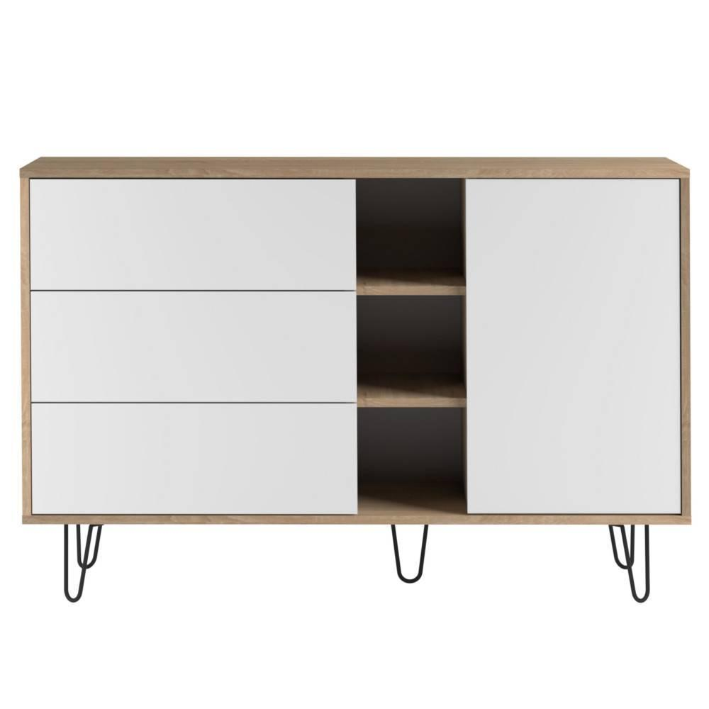 Buffet design scandinave LACKBERG 1 porte 3 tiroirs chêne naturel