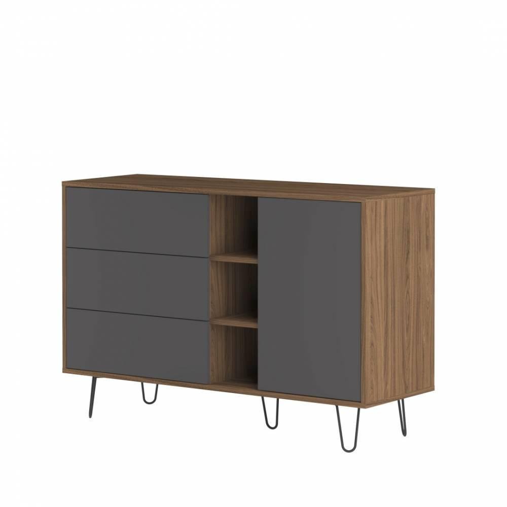 buffets meubles et rangements buffet design scandinave lackberg 1 porte 3 tiroirs noyer inside75. Black Bedroom Furniture Sets. Home Design Ideas