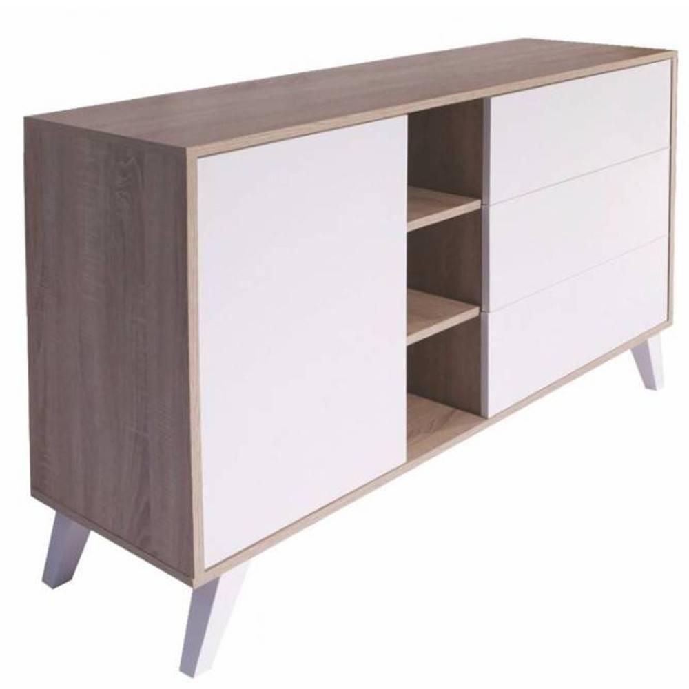 buffets meubles et rangements buffet design scandinave square 1 porte 3 tiroirs blanc inside75. Black Bedroom Furniture Sets. Home Design Ideas