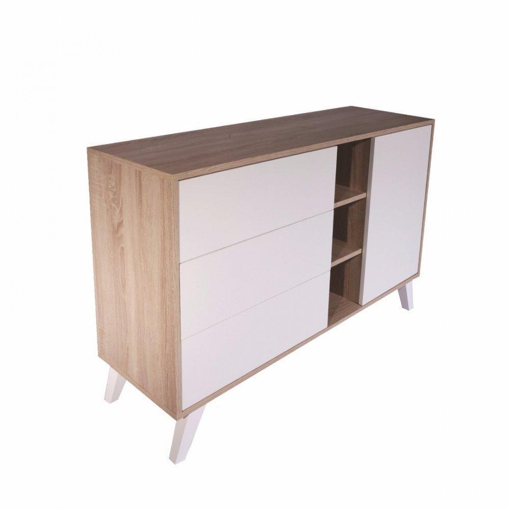 buffets bas meubles et rangements buffet design scandinave square 1 porte 3 tiroirs blanc. Black Bedroom Furniture Sets. Home Design Ideas