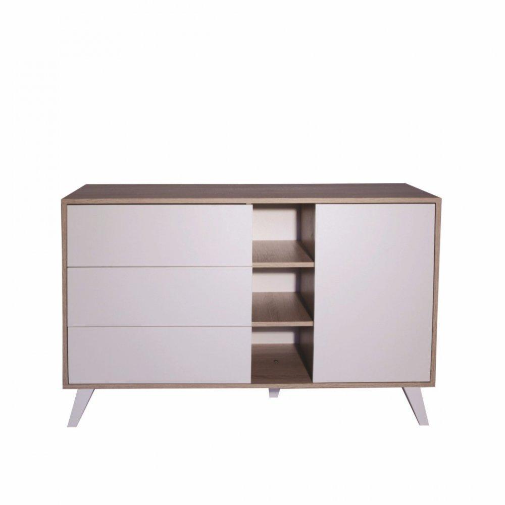 buffets bas meubles et rangements buffet design scandinave square 1 porte 3 tiroirs blanc. Black Bedroom Furniture Sets. Home Design Ideas
