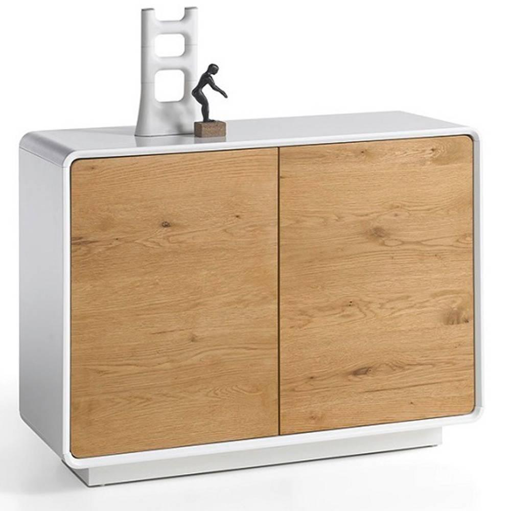 buffets meubles et rangements buffet design scandinave tally 2 portes laqu blanc mat et ch ne. Black Bedroom Furniture Sets. Home Design Ideas