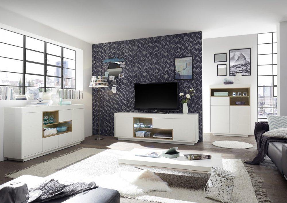 Buffet haut CLEO  blanc laqué mat 2 portes 1 tiroir 2 niches décor chêne