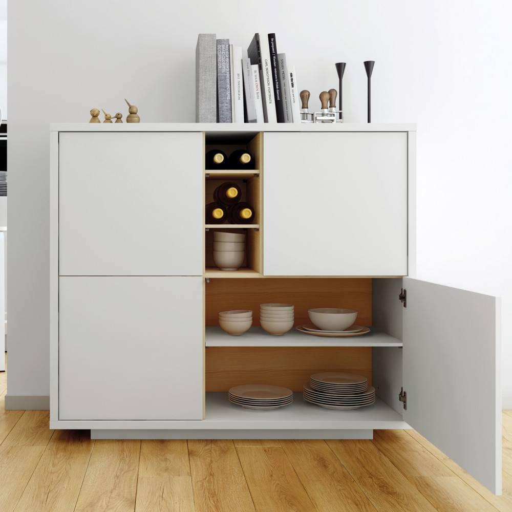 buffets meubles et rangements buffet haut delf style scandinave 4 portes 3 niches blanc et. Black Bedroom Furniture Sets. Home Design Ideas