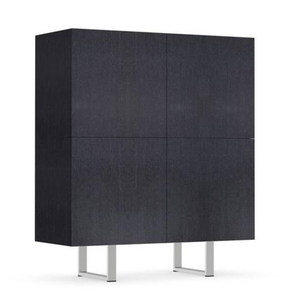calligaris buffet haut design horizon gris graphite dessus verre noir 4 portes - Buffet Haut Gris