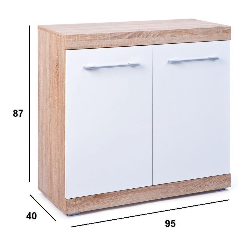 Buffets bas meubles et rangements buffet lublin ch ne blanc 2 portes insi - Buffet 2 portes blanc ...