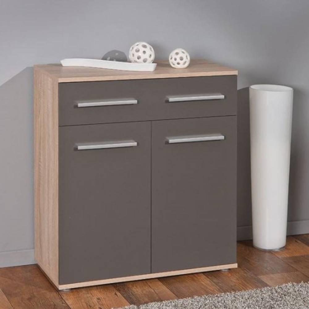 Buffets meubles et rangements buffet stettin gris graphite et ch ne blanc d - Buffet 2 portes blanc ...