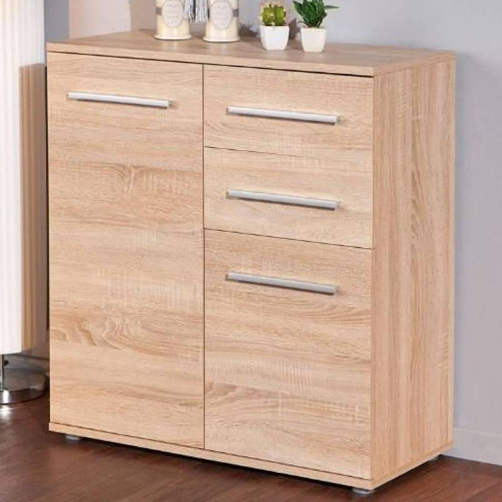 buffets meubles et rangements buffet stettin ch ne blanc de sonoma 2 portes 2 tiroirs inside75. Black Bedroom Furniture Sets. Home Design Ideas