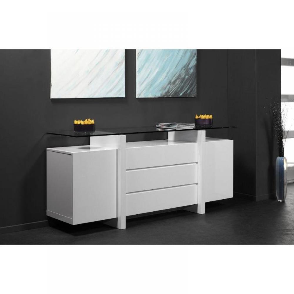 buffets, meubles et rangements, buffet design laqué blanc et verre ... - Meuble Bahut Design