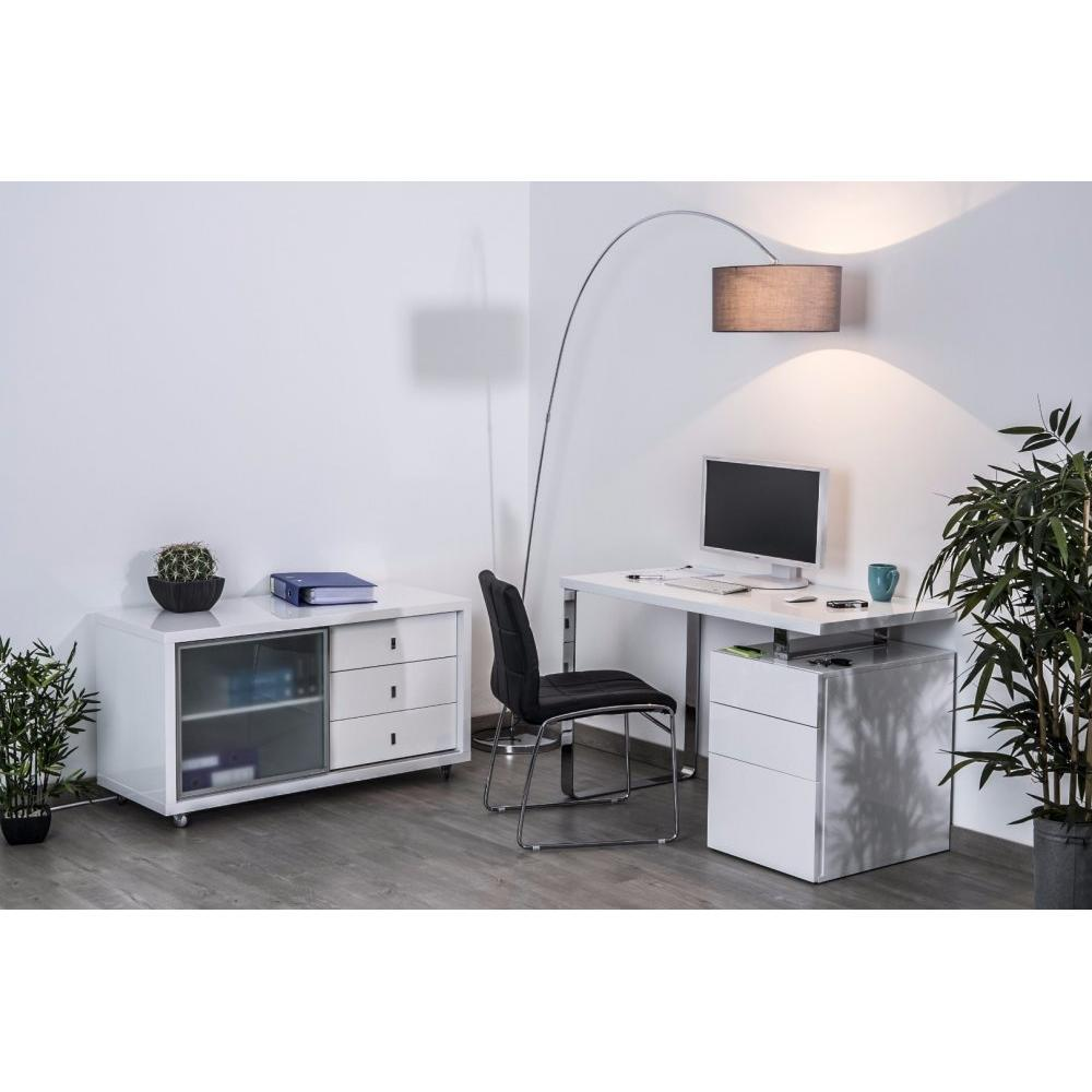 bureaux meubles et rangements bureau masdrovia 160 x 60 blanc brillant avec caisson 3 tiroirs. Black Bedroom Furniture Sets. Home Design Ideas
