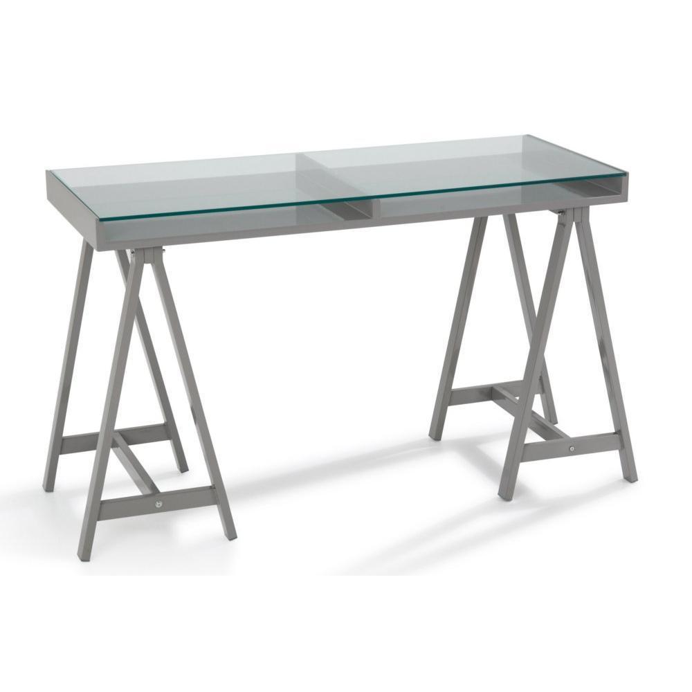bureaux meubles et rangements bureau achlys gris plateau en verre tremp inside75
