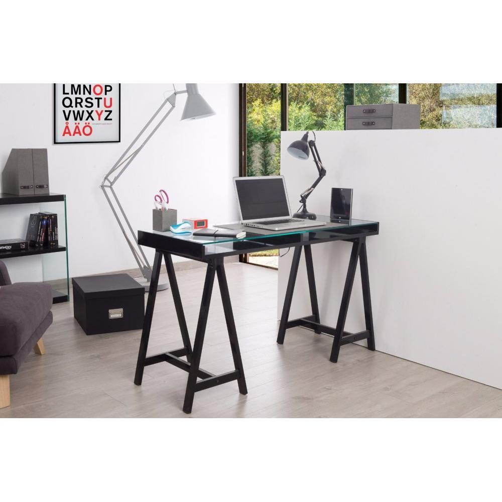 bureaux meubles et rangements bureau achlys noir plateau en verre tremp inside75. Black Bedroom Furniture Sets. Home Design Ideas