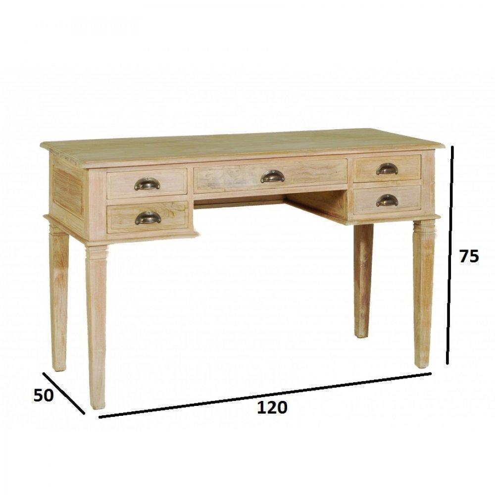 bureaux tables et chaises bureau api 5 tiroirs en teck blanchi style colonial inside75. Black Bedroom Furniture Sets. Home Design Ideas