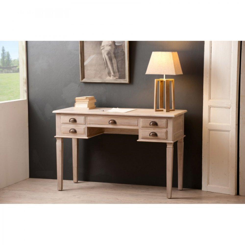 bureaux meubles et rangements bureau api 5 tiroirs en teck blanchi style colonial inside75. Black Bedroom Furniture Sets. Home Design Ideas