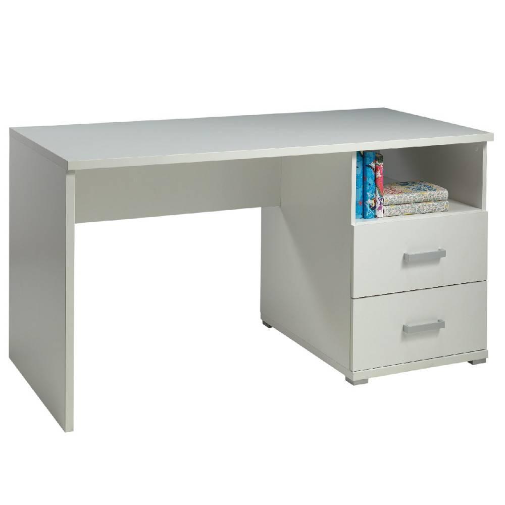 Bureaux meubles et rangements bureau aya blanc mat 2 for Bureau design 2 tiroirs