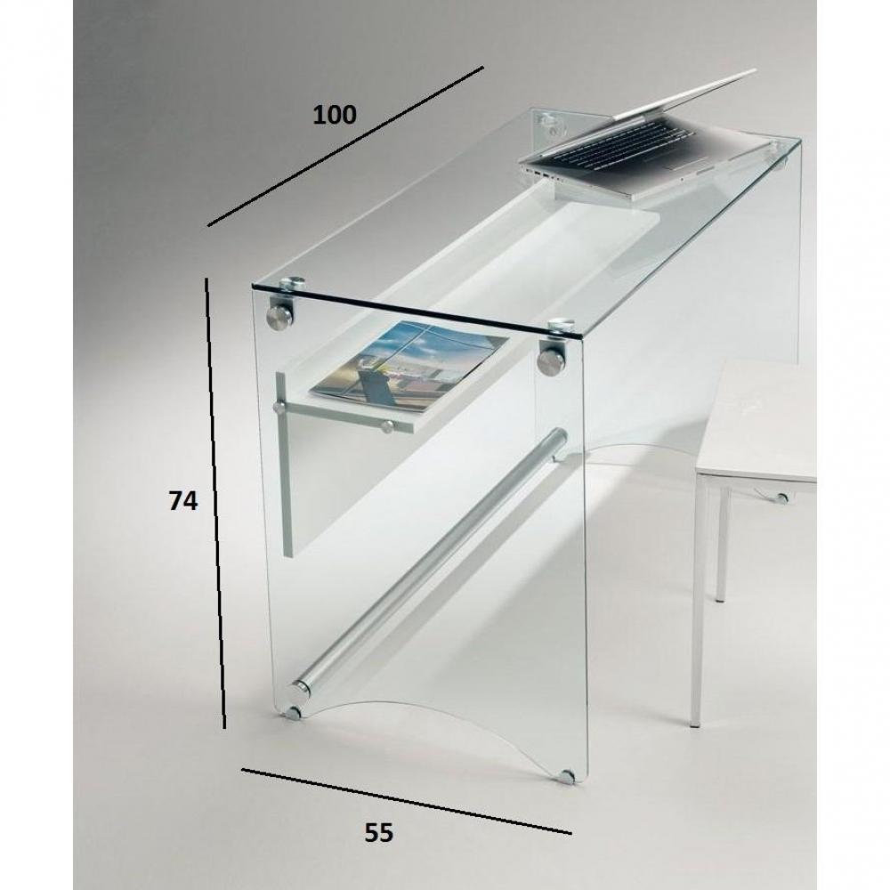 Bureau CHARLI design en verre avec une étagère en bois stratifié blanc