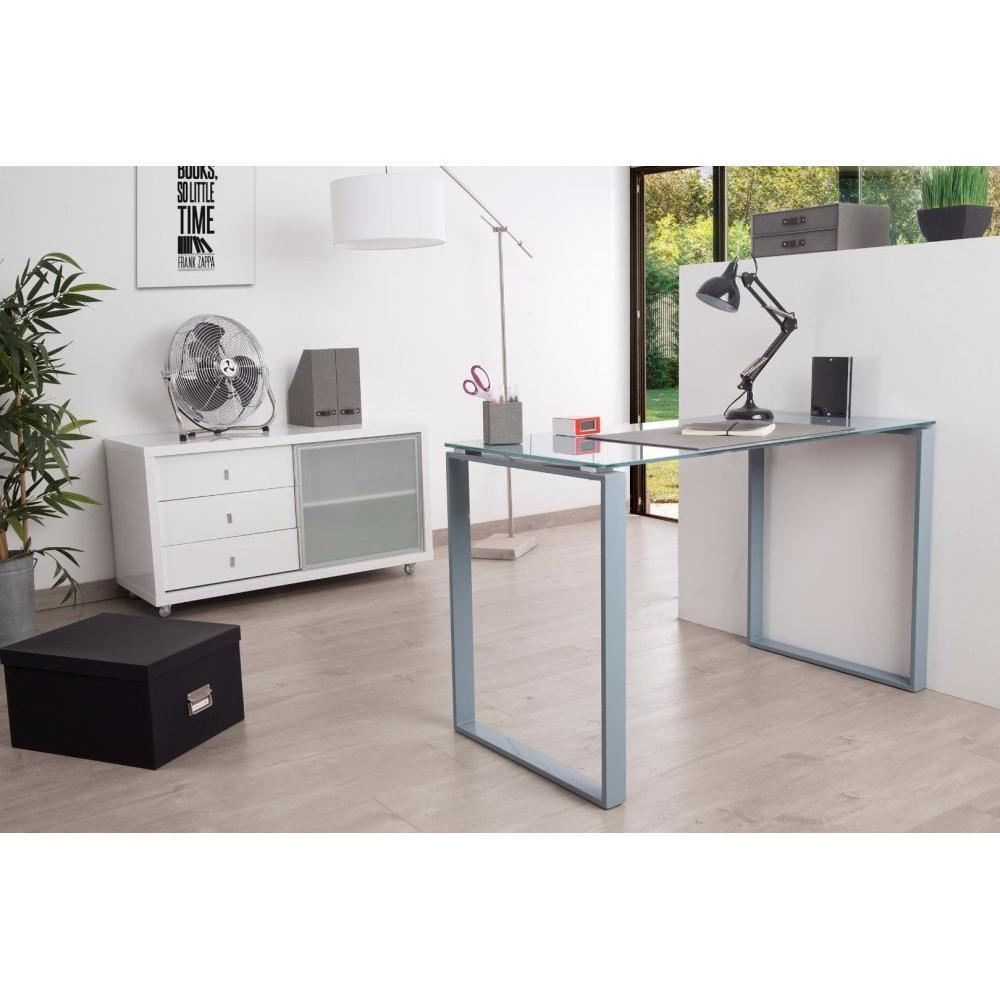 bureaux meubles et rangements bureau chloris en verre tremp gris 120 cm inside75. Black Bedroom Furniture Sets. Home Design Ideas