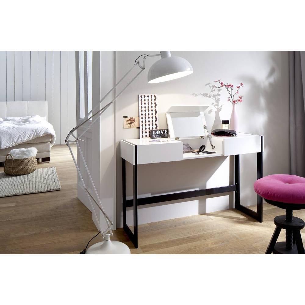 bureaux meubles et rangements bureau secretaire dani blanc mat 125 x 40 pied metal noir inside75. Black Bedroom Furniture Sets. Home Design Ideas