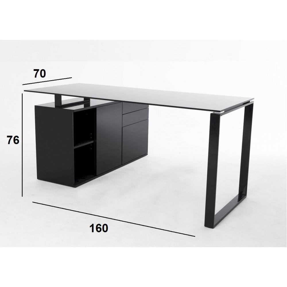 Bureaux meubles et rangements delia bureau en verre noir for Meuble bureau avec rangement