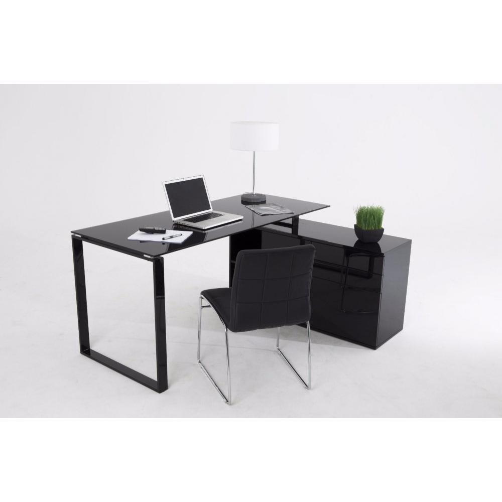 Bureaux meubles et rangements delia bureau en verre noir for Petit bureau avec rangement