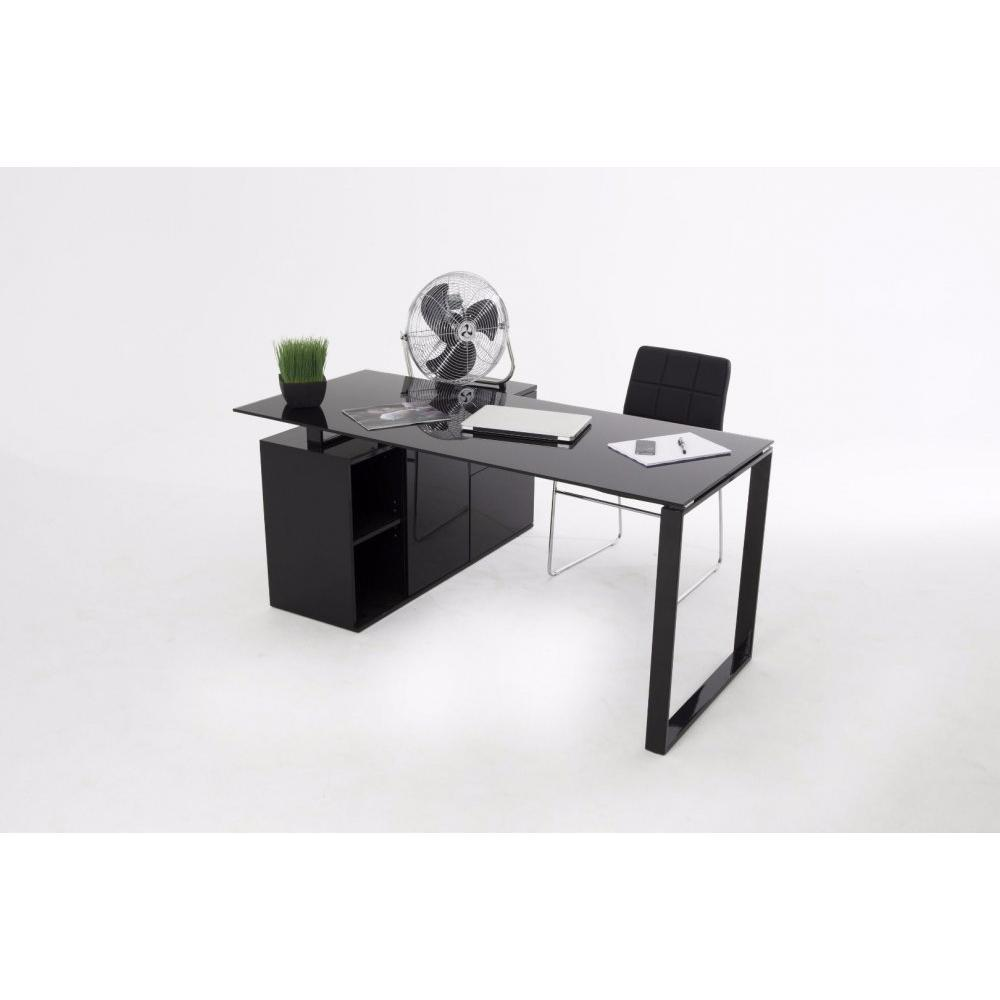 bureaux meubles et rangements delia bureau en verre noir avec caisson de rangement inside75. Black Bedroom Furniture Sets. Home Design Ideas
