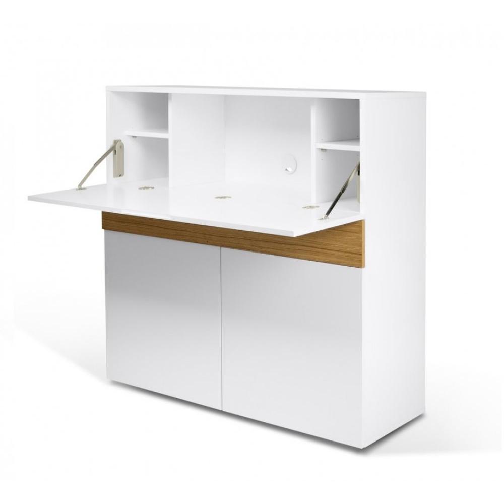 Bureaux meubles et rangements bureau compact focus blanc de temahome insi - Bureau de travail blanc ...