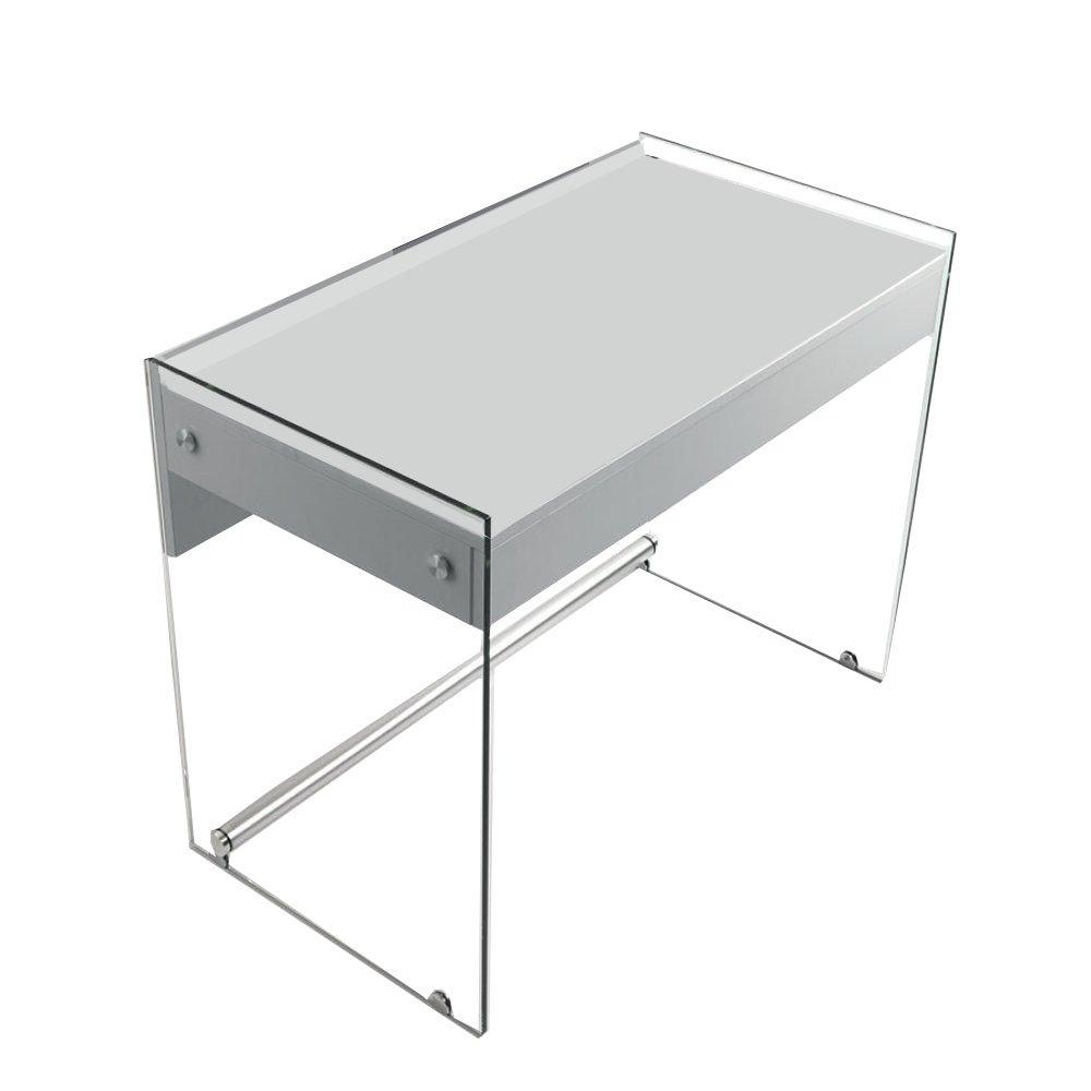 bureaux meubles et rangements bureau tokio 1 tiroir blanc mat pi tement en verre inside75. Black Bedroom Furniture Sets. Home Design Ideas
