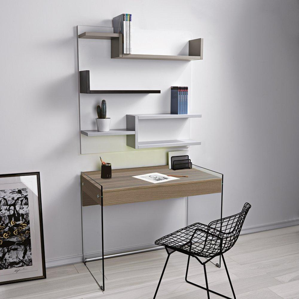 bureaux meubles et rangements bureau tokio 1 tiroir coloris noyer pi tement en verre inside75. Black Bedroom Furniture Sets. Home Design Ideas