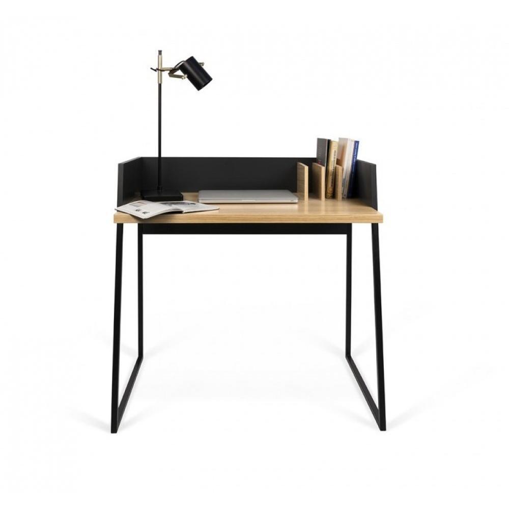 Bureau design VOLGA plateau chêne avec piétement noir
