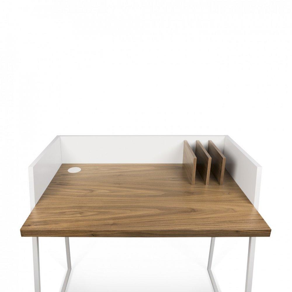 bureaux meubles et rangements bureau design temahome volga plateau noyer avec pi tement acier. Black Bedroom Furniture Sets. Home Design Ideas