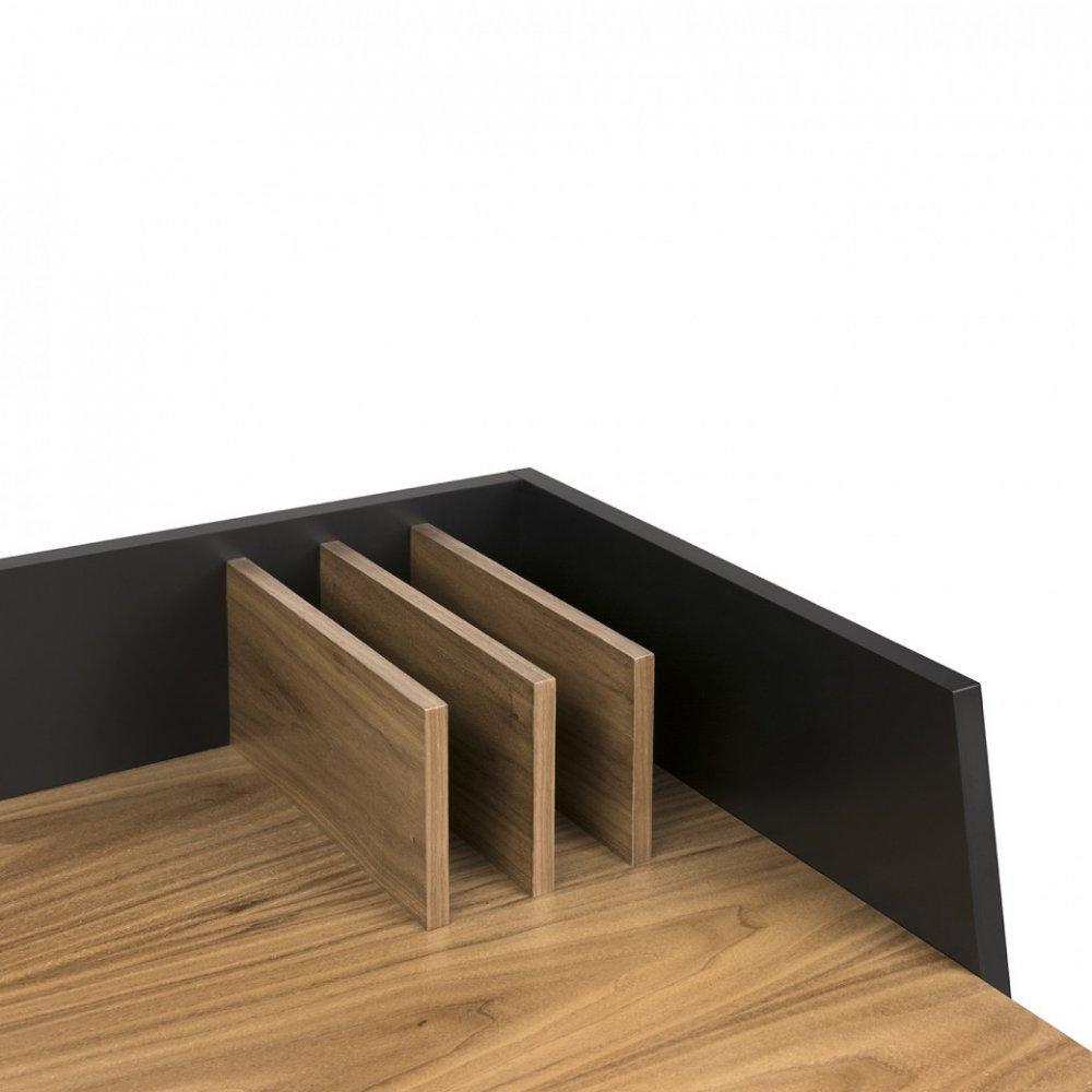 bureaux tables et chaises bureau design temahome volga plateau noyer avec pi tement noir. Black Bedroom Furniture Sets. Home Design Ideas