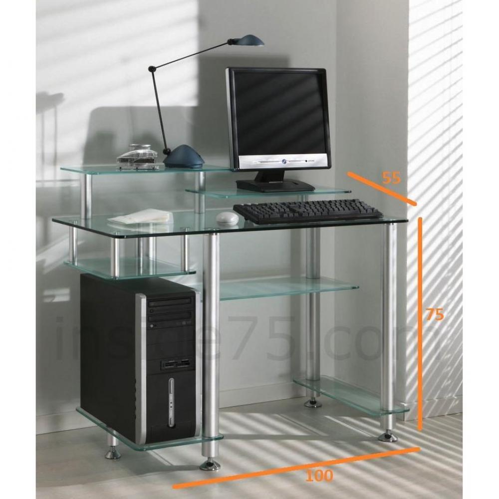 bureaux meubles et rangements little desk bureau verre transparent 7 plateaux inside75. Black Bedroom Furniture Sets. Home Design Ideas