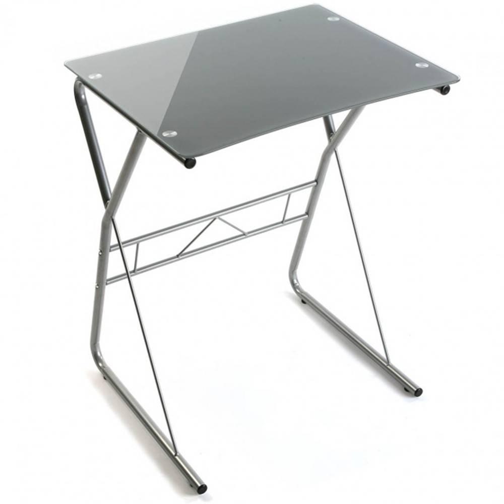 Bureaux meubles et rangements bureau desktown compact plateau en verre gris inside75 for Plateau en verre pour bureau