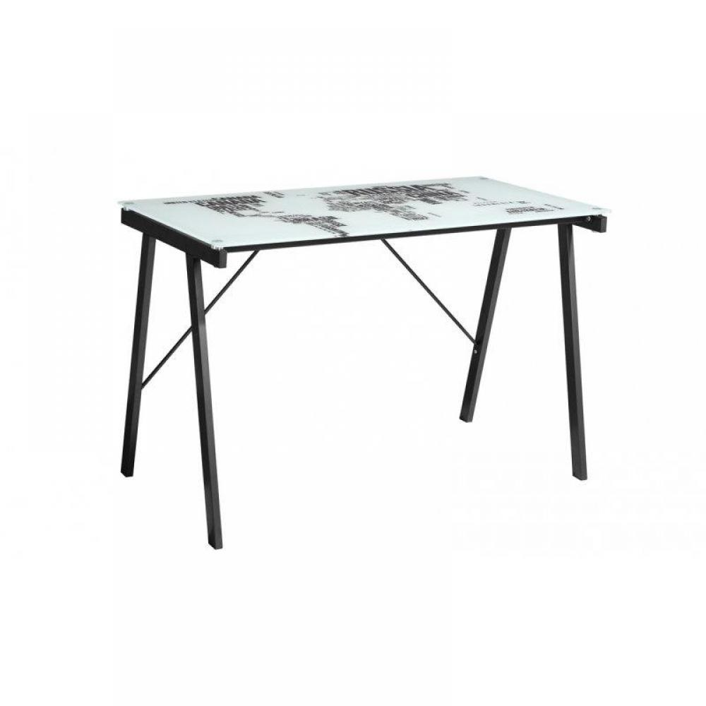 bureaux meubles et rangements bureau mappe monde avec plateau en verre imprim inside75. Black Bedroom Furniture Sets. Home Design Ideas