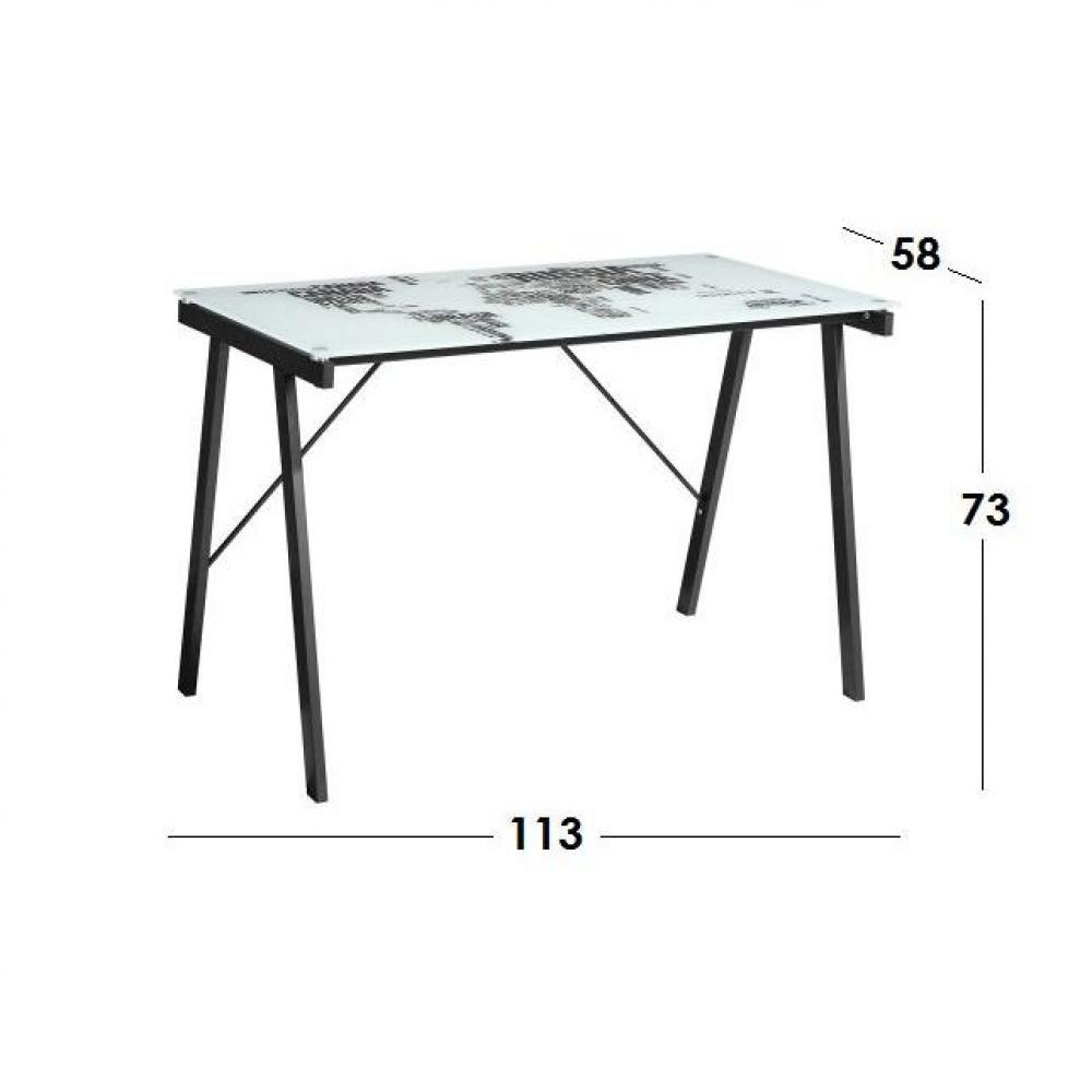 Bureaux meubles et rangements bureau mappe monde avec for Plateau bureau en verre
