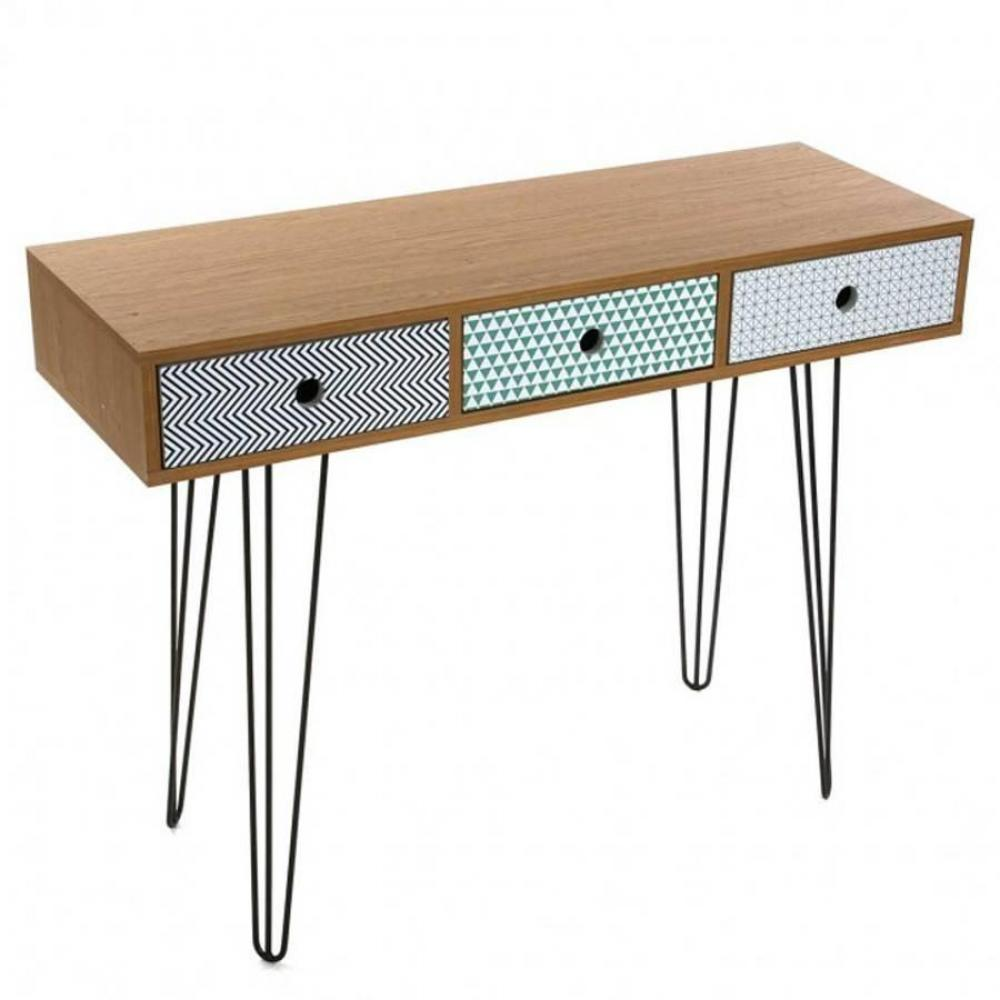 bureaux meubles et rangements bureau graphika 100 x 35 imprime geometrique pied eiffel pm. Black Bedroom Furniture Sets. Home Design Ideas
