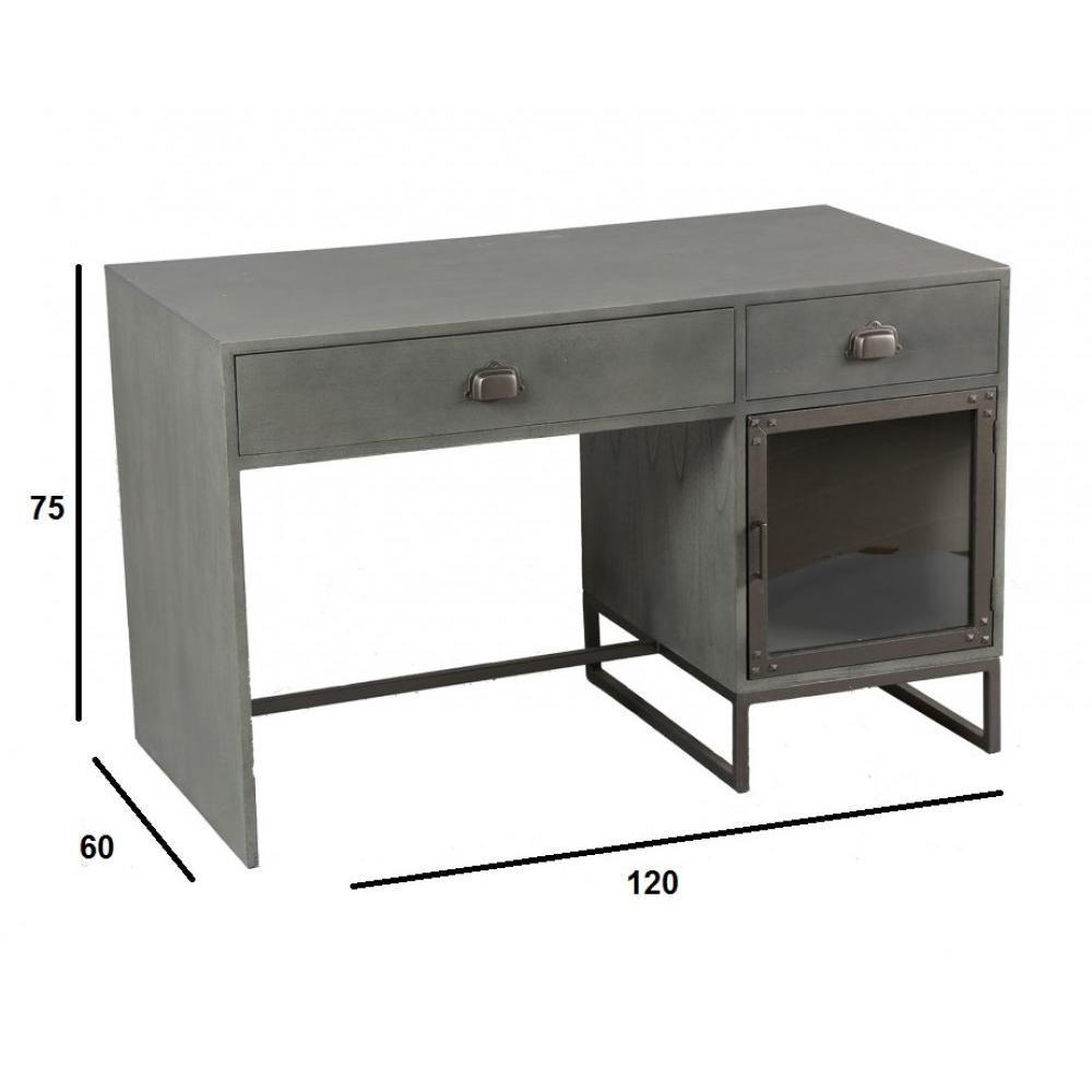 bureaux meubles et rangements bureau industry c rus gris avec 2 tiroirs et 1 porte inside75. Black Bedroom Furniture Sets. Home Design Ideas