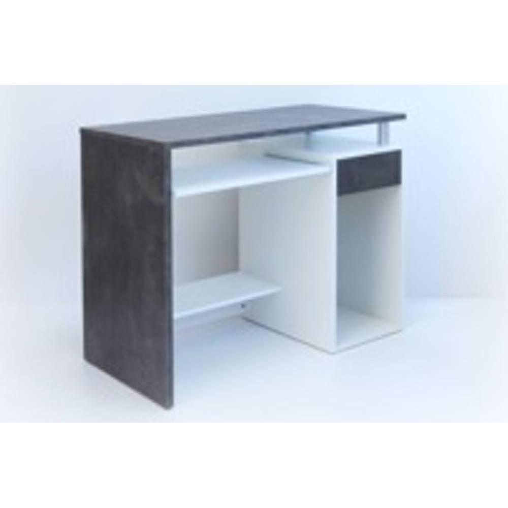 bureaux meubles et rangements aero bureau informatique triple plateaux blanc et b ton inside75. Black Bedroom Furniture Sets. Home Design Ideas