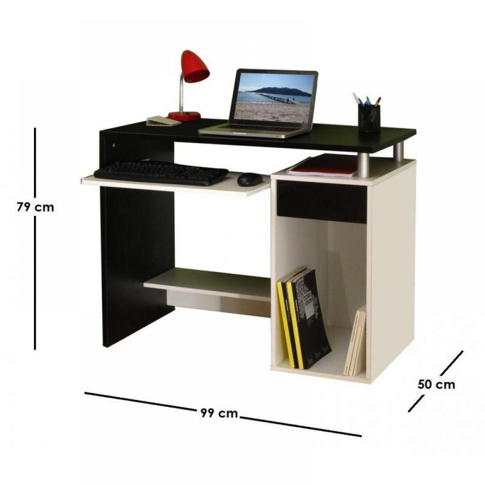 bureaux meubles et rangements geek bureau informatique triple plateaux noir blanc inside75. Black Bedroom Furniture Sets. Home Design Ideas