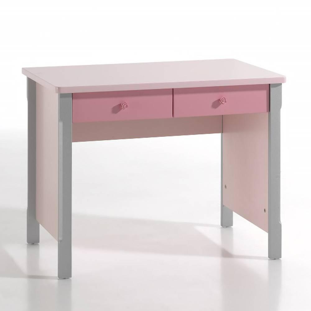 Bureaux meubles et rangements bureau lyli rose gris 2 for Meuble bureau 2 tiroirs