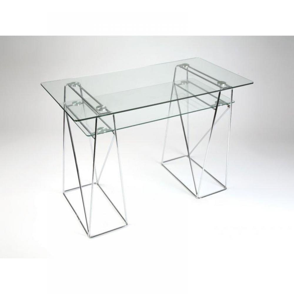 Meuble informatique en verre trempe nouveau design plein for Meuble bureau verre acier