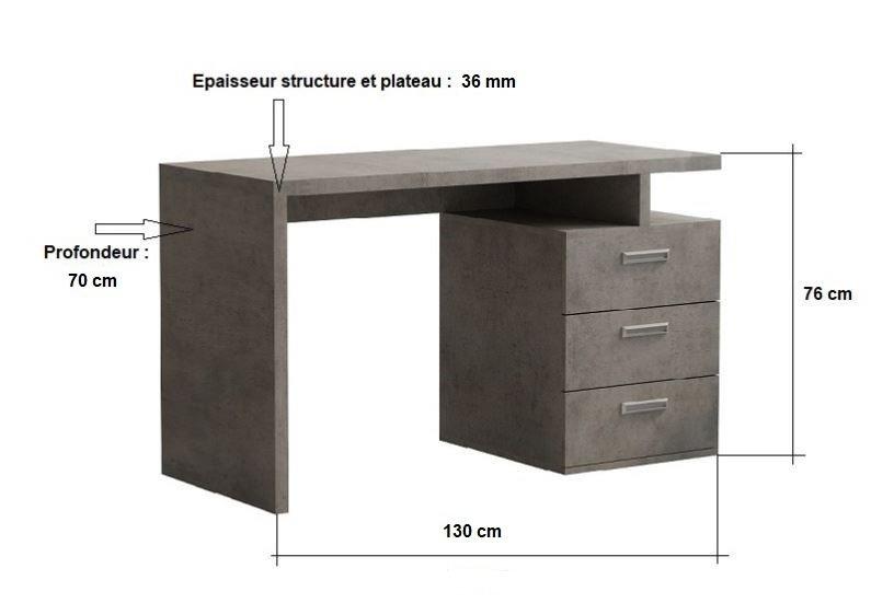 Bureau RUBY 3 tiroirs gris béton 130 x 70 cm