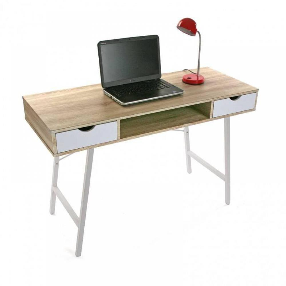 meuble de bureau au meilleur prix bureau design tazla plateau bois pi tement blanc inside75. Black Bedroom Furniture Sets. Home Design Ideas