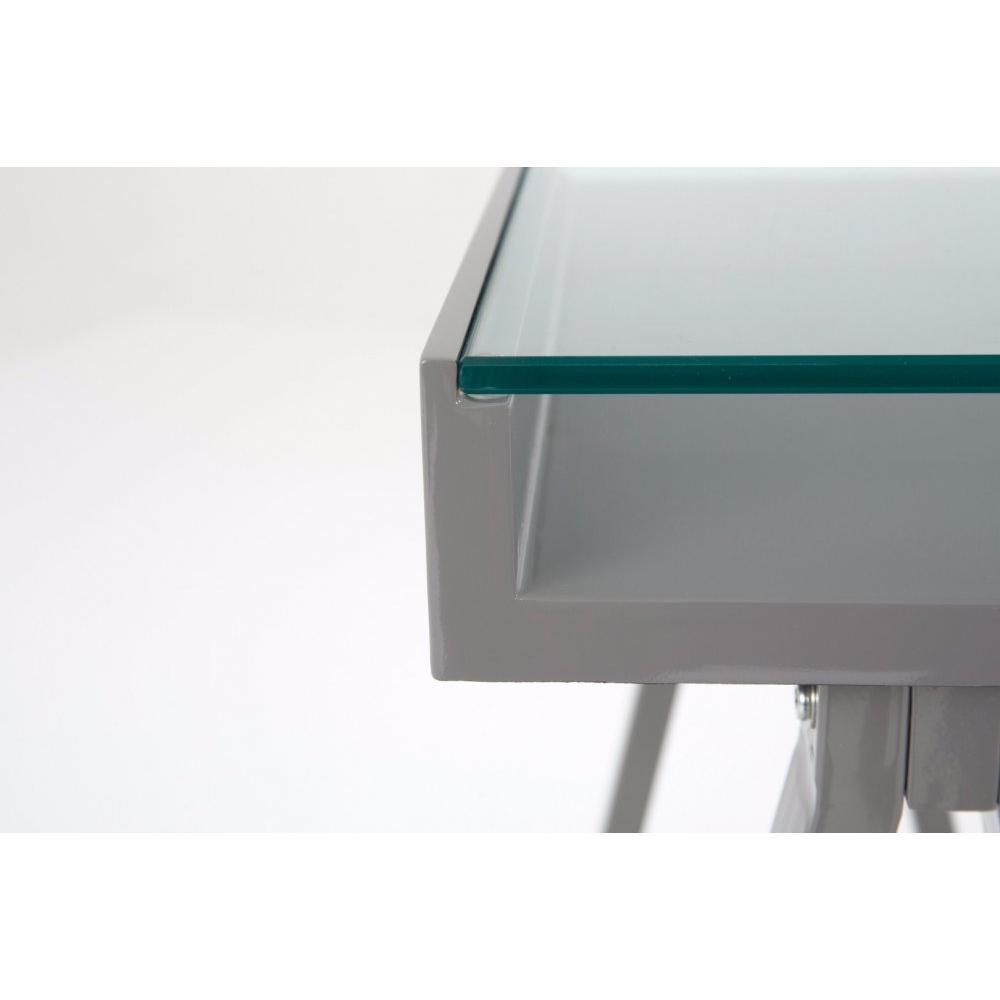 Bureaux meubles et rangements bureau study gris plateaux for Bureau verre trempe