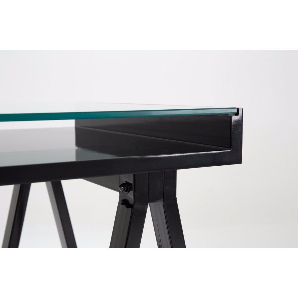 Bureaux meubles et rangements bureau study noir plateaux - Plateau verre trempe bureau ...