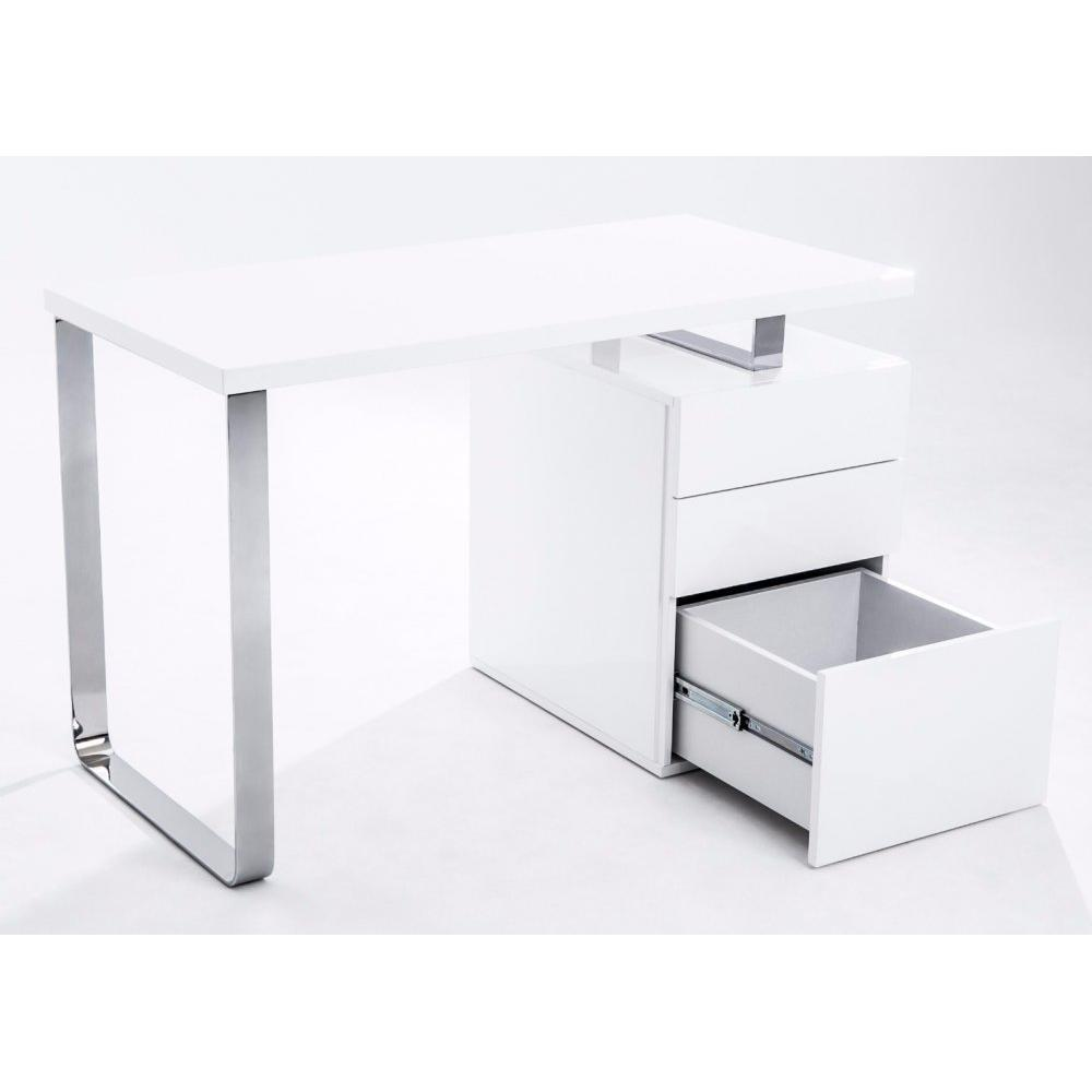 bureaux meubles et rangements bureau masdrovia 120 x 60 blanc brillant avec caisson 3 tiroirs. Black Bedroom Furniture Sets. Home Design Ideas