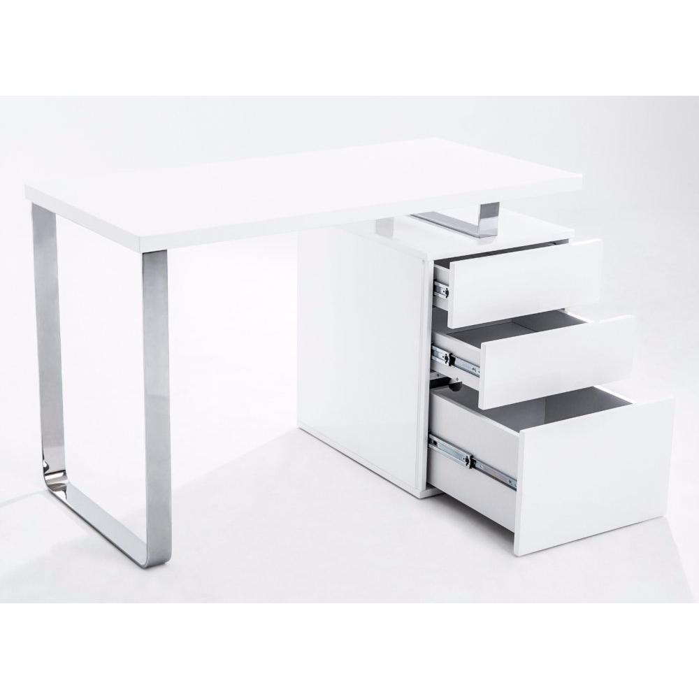 Bureau Avec Tiroir #15: Bureau MASDROVIA 120 X 60 Blanc Brillant Avec Caisson 3 Tiroirs
