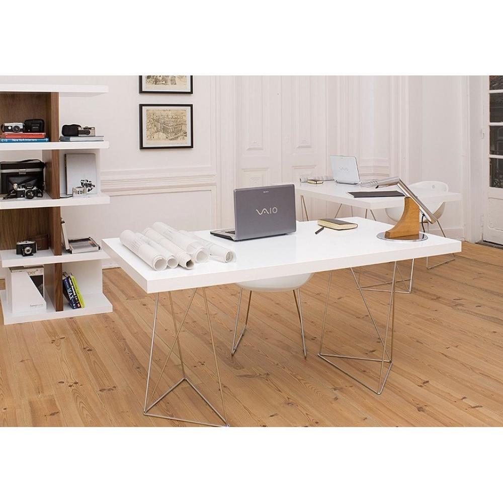 bureaux meubles et rangements bureau design trestles blanc inside75. Black Bedroom Furniture Sets. Home Design Ideas