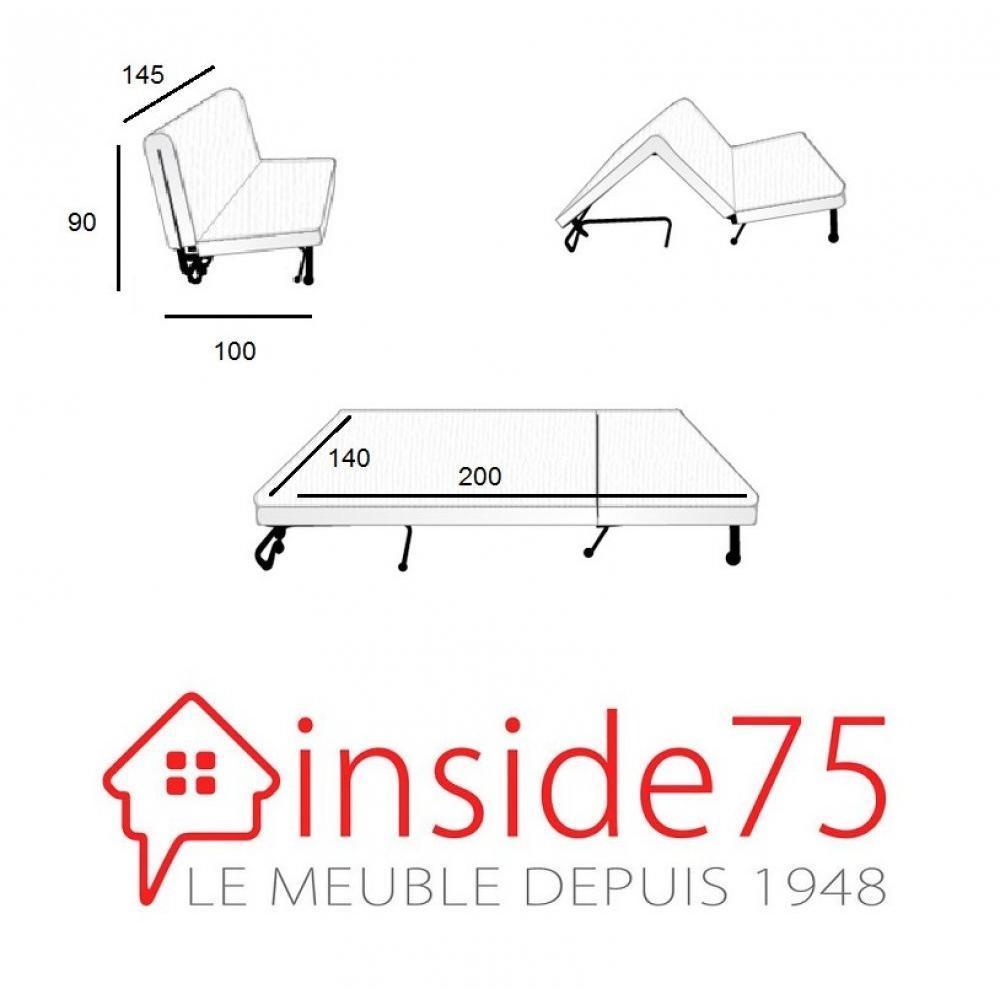 Banquette BZ convertible AXEL gris couchage140*200cm matelas confort BULTEX