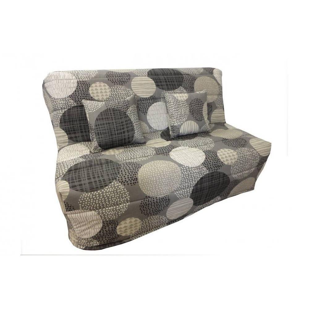 canap convertible bz au meilleur prix banquette bz convertible axel grise motifs ronds 140. Black Bedroom Furniture Sets. Home Design Ideas